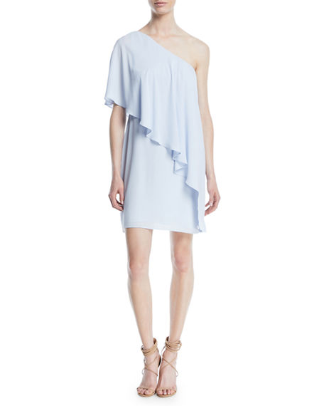 Halston Heritage Flowy Draped One-Shoulder Cocktail Dress
