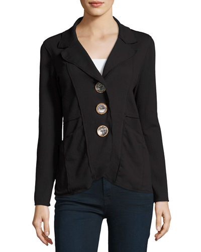 Plus Size Lompac Metal-Button Jacket