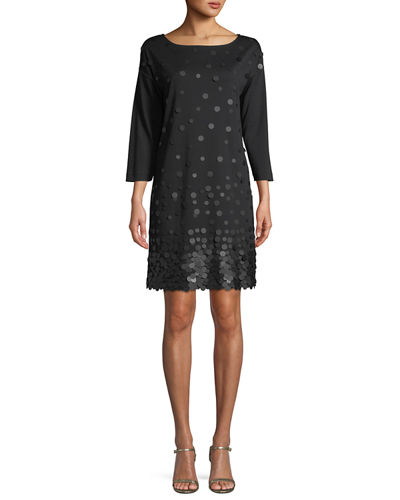 Petite Sequined-Front 3/4-Sleeve Dress