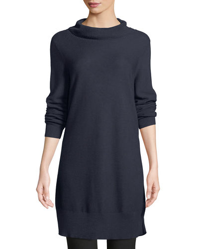 Eileen Fisher Tencel/Silk Turtleneck Tunic Sweater, Plus Size