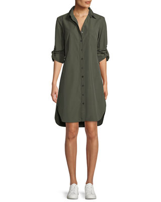 FINLEY Alex Long-Sleeve Button-Front Shirtdress in Olive