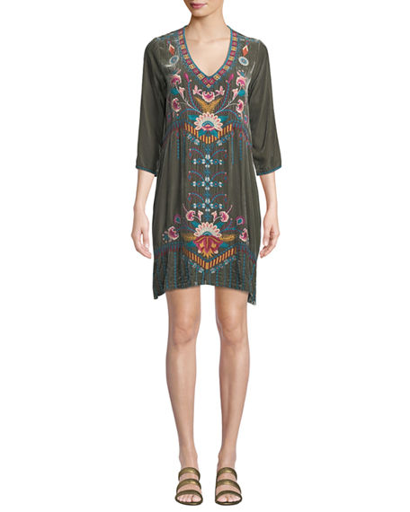 Johnny Was PLUS SIZE DELPHINE EMBROIDERED VELVET TUNIC DRESS