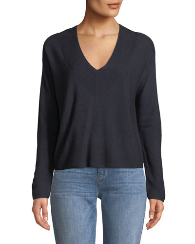 Silky Tencel V-Neck Boxy Sweater, Plus Size