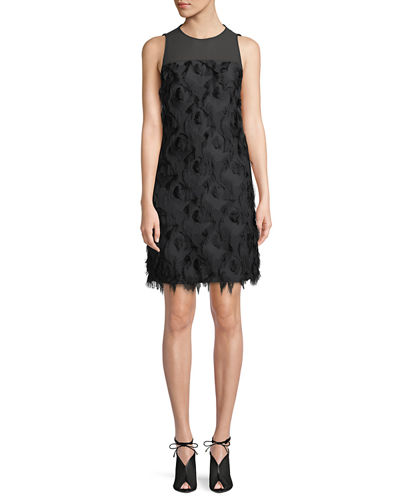 Feather Textured Shift Dress