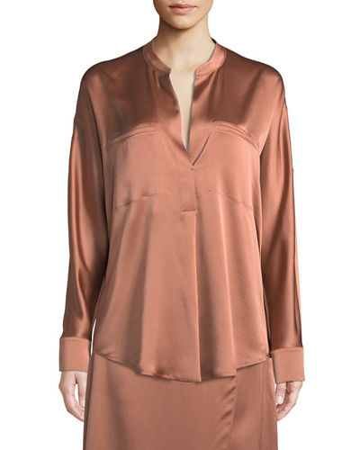 0ebe671a4f4c1c Quick Look. Vince · Band-Collar Silk Popover Blouse