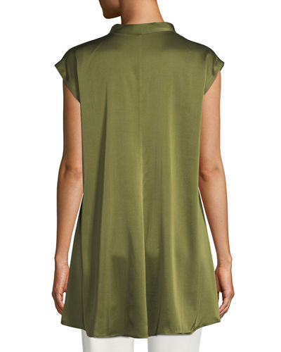 Cap-Sleeve Stretch Silk Charmeuse Top, Plus Size