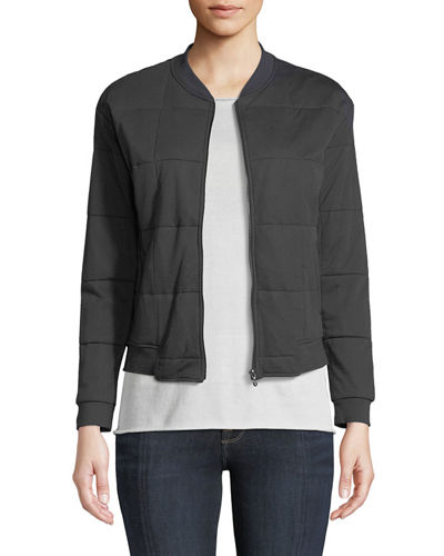 Quilted Zip-Front Bomber Jacket