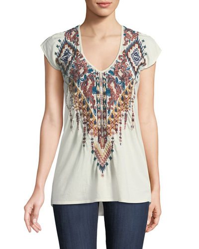 Nala Short-Sleeve Deep Scoop-Neck Embroidered Tee