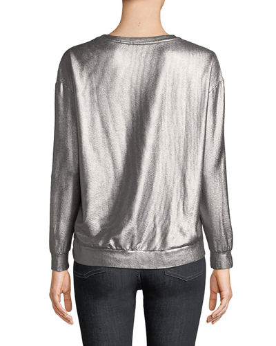 Majestic Paris for Neiman Marcus Long-Sleeve Metallic Pullover Sweater