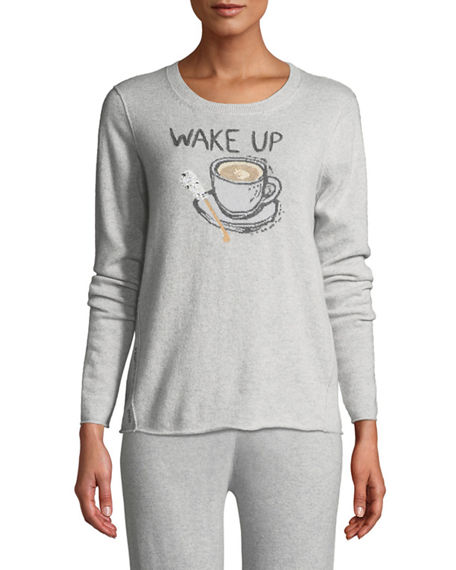 Lisa Todd PLUS SIZE WAKE UP & SMELL THE COFFEE CASHMERE SWEATER