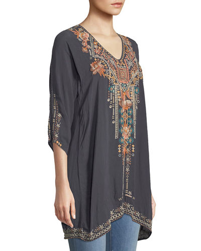 Plus Size Mikaela 3/4-Sleeve Embroidered Tunic
