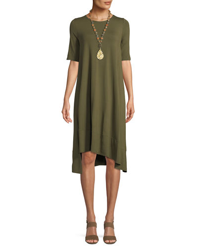 Petite Short-Sleeve Lightweight Jersey Asymmetric Dress