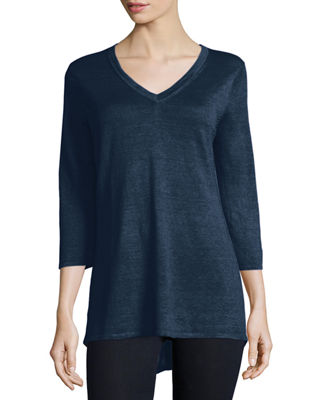 BELFORD 3/4-Sleeve V-Neck Tunic in Carbon