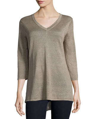 BELFORD 3/4-Sleeve V-Neck Tunic in Flax