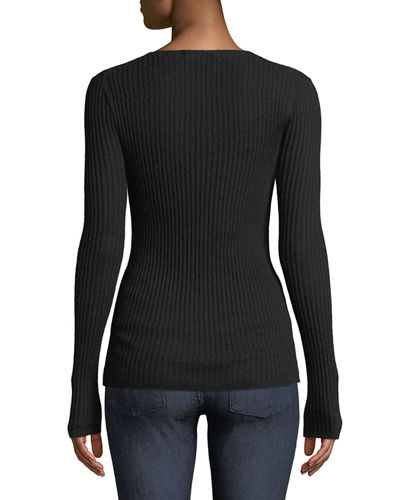Cashmere Ribbed V-Neck Sweater