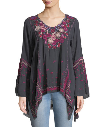 Plus Size Wish Stitch Embroidered Tunic