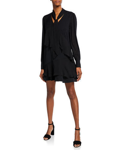 Kenji Tiered Chiffon Long-Sleeve Dress
