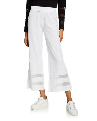 Meshin Around Wide-Leg Ankle Pants w/ Mesh Insets