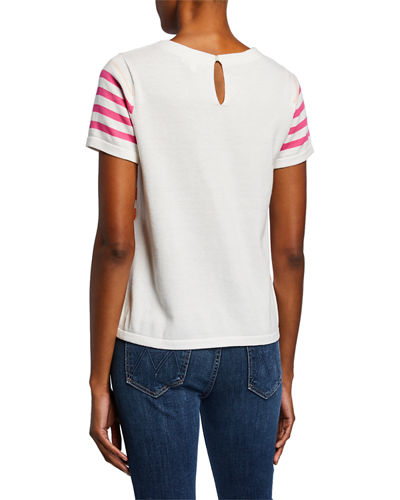 Lisa Todd Cosmic Shine Sequin-Stripe Crewneck Short-Sleeve Sweater