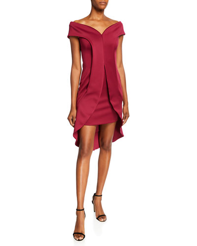 Anderson Off-the-Shoulder Short-Sleeve Sheath Dress