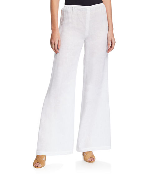 Caroline Rose Pants TISSUE LINEN WIDE-LEG PANTS