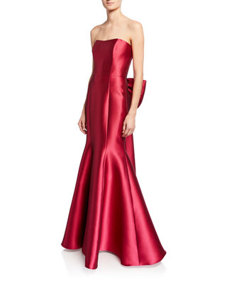 Strapless Mikado Pique Mermaid Gown With Back Draped Bow by Marchesa Notte