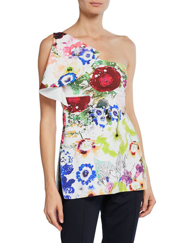 Clarisse Printed One-Shoulder Sleeveless Top