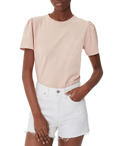 Hannah Crewneck Puff-Sleeve Cotton T-Shirt