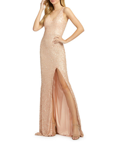 Sequined V-Neck Sleeveless Gown with High Slit