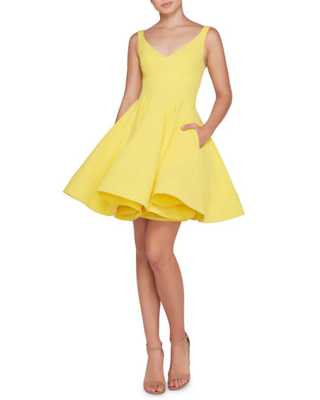 Ieena for Mac Duggal Sleeveless V-Neck Fit-and-Flare Dress w/ Dramatic Skirt