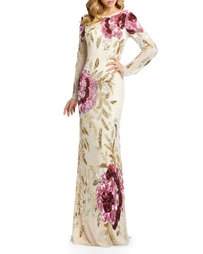 Floral Sequin Long-Sleeve Column Gown
