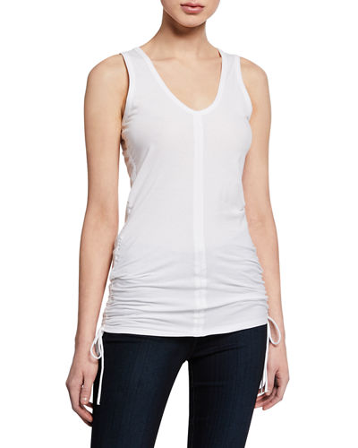 Scoop-Neck Stretch-Cotton Tank w/ Side-Ruching