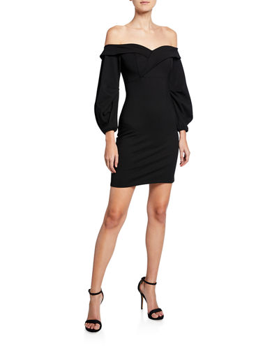 Camilla Off-the-Shoulder Long-Sleeve Mini Dress