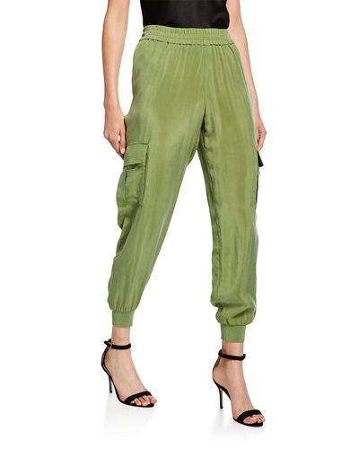 Dede Smocked-Waistband Cargo Pants
