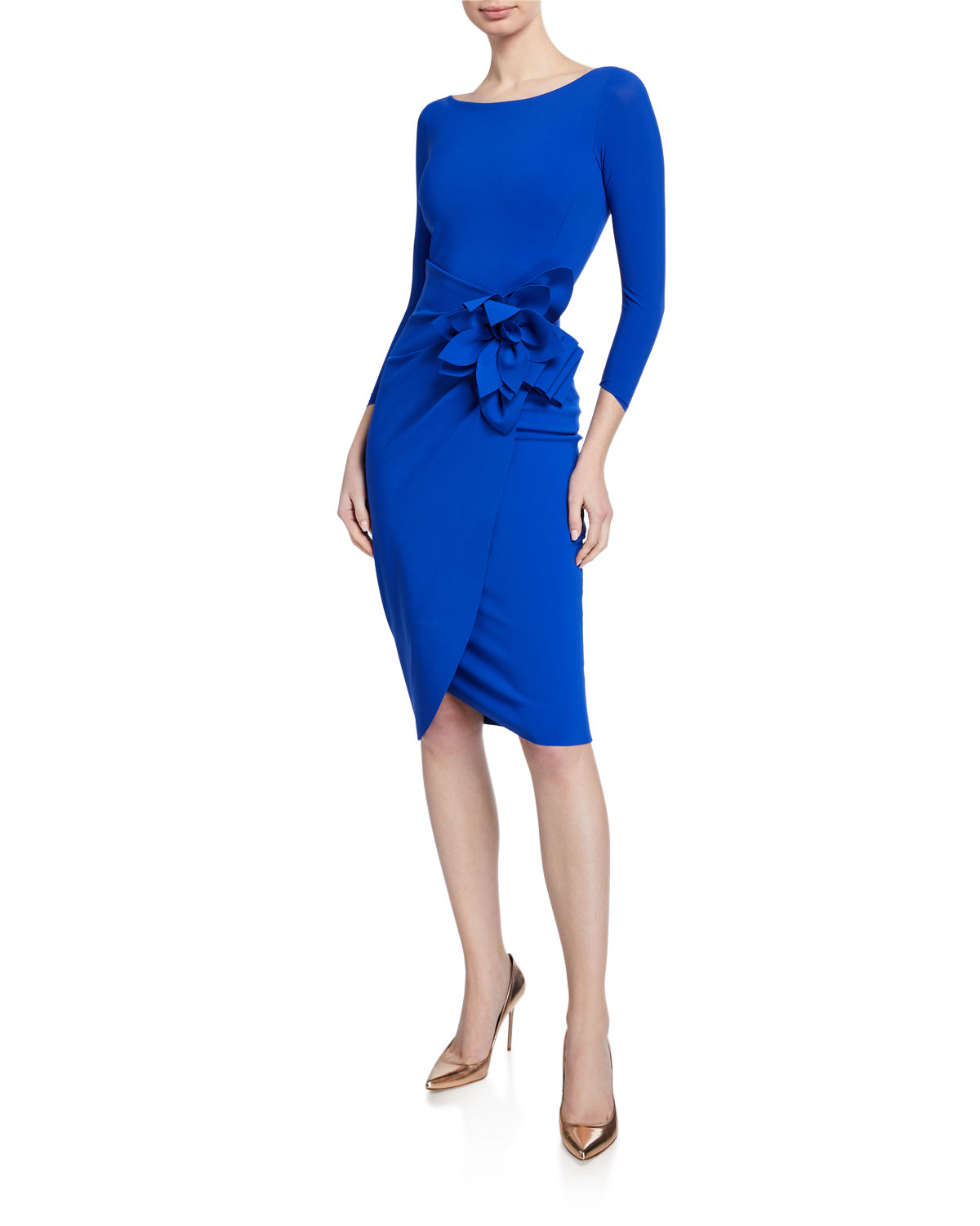Chiara Boni La Petite Robe Dresses GLENALY BOAT-NECK 3/4-SLEEVE DRESS WITH APRON SKIRT & FLOWER DETAIL