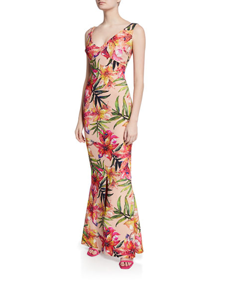 Chiara Boni La Petite Robe Tops MANISHA PRINT V-NECK SLEEVELESS GOWN WITH SLIT