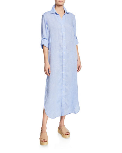 Alex Long-Sleeve Washed Linen Maxi Shirtdress