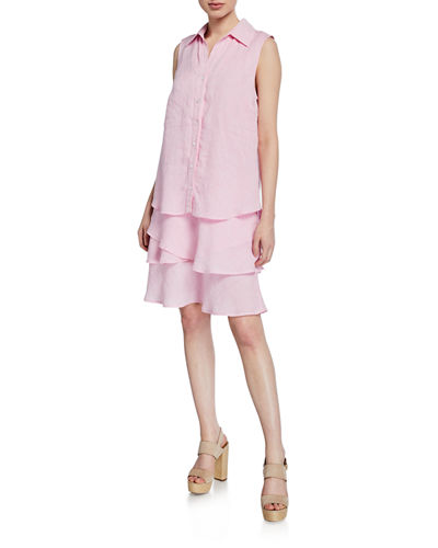 ed10bc82c4 Quick Look. Finley · Jasmine Button-Front Sleeveless Tiered Washed Linen  Dress