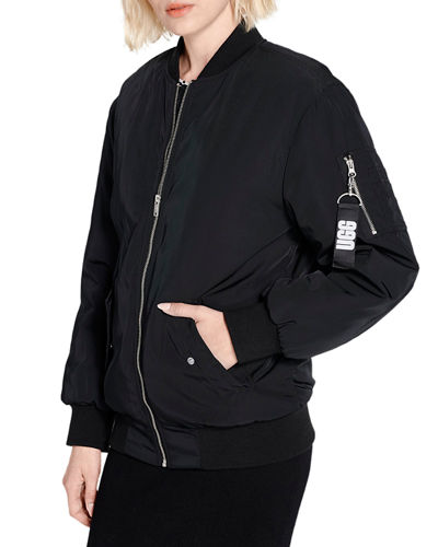 Frances Zip-Front Oversized Bomber Jacket