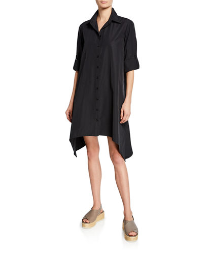Bruno Button-Front Long-Sleeve Uneven-Hem Shirtdress