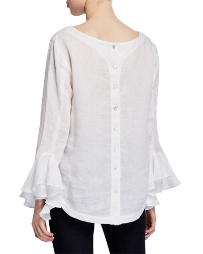 Finley Carmella Ruffle-Sleeve Button-Back Washed Linen Blouse