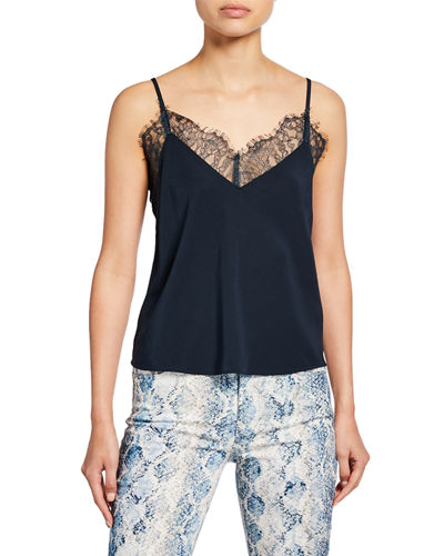 V-Neck Camisole with Scallop Lace Trim