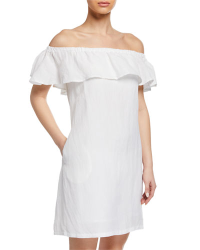 403e9f83ce Quick Look. Tommy Bahama · Off-the-Shoulder Short-Sleeve Linen Ruffle Dress.  Available in White