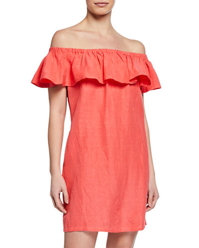 59231544 Quick Look. Tommy Bahama · Off-the-Shoulder Short-Sleeve Linen Ruffle Dress