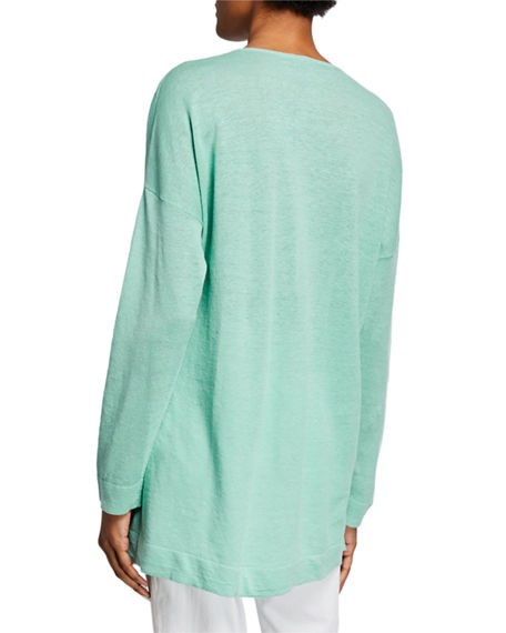 Image 2 of 2: Eileen Fisher V-Neck Long-Sleeve Organic Linen/Cotton Tunic Sweater