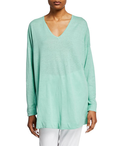 V-Neck Long-Sleeve Organic Linen/Cotton Tunic Sweater