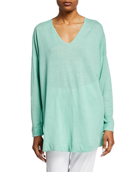 Image 1 of 2: Eileen Fisher V-Neck Long-Sleeve Organic Linen/Cotton Tunic Sweater