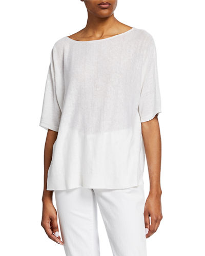 Eileen Fisher Petite Bateau-Neck Elbow-Sleeve Organic Linen/Cotton Sweater