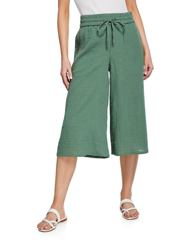 f238c8756f3452 Quick Look. Eileen Fisher · Plus Size Drawstring Wide-Leg Cropped Organic  Cotton Gauze Pants