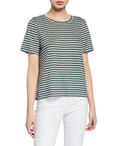 Plus Size Striped Organic Linen Jersey Cap-Sleeve Tee